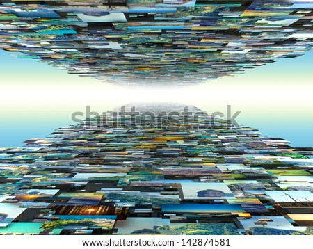 Wall with lot of photography pictures scattered  in sky infinity - stock photo