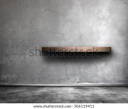 Wall with shelf - stock photo