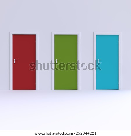 Wall with three color doors. 3d illustration. - stock photo