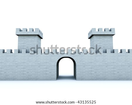 Wall with towers isolated on white - stock photo