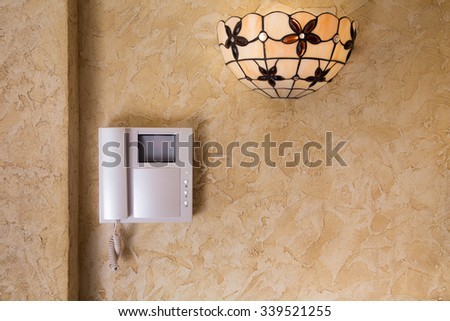 Wall with  video intercom equipment  - stock photo