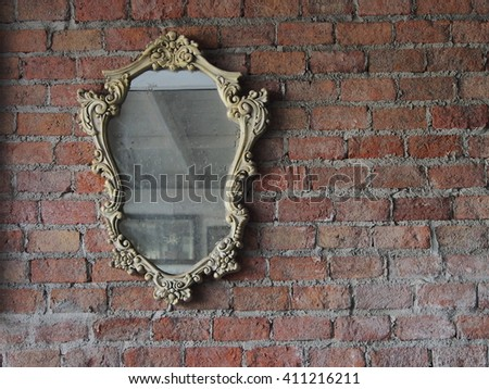 wall with vintage frame - stock photo
