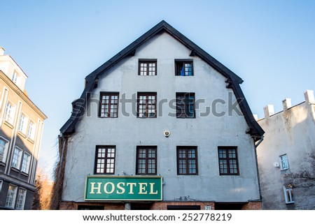 wall with windows of an old building - stock photo