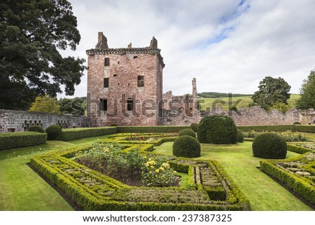 Walled garden & Edzell castle in Scotland