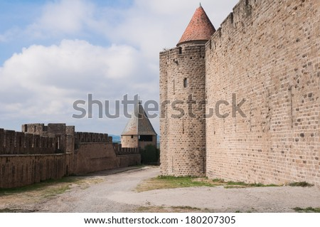 Walled town of Carcassonne, (France) - stock photo