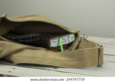 Wallet and book coming out of an open bag