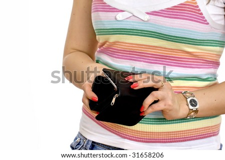 wallet and credit cards in woman hands against white background