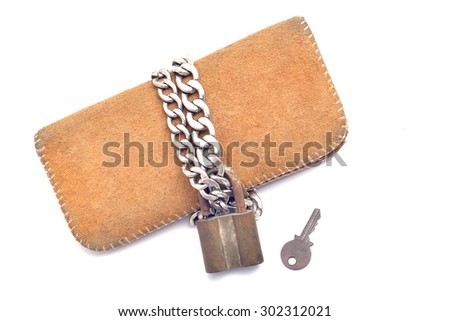 wallet and lock isolated on white background - stock photo