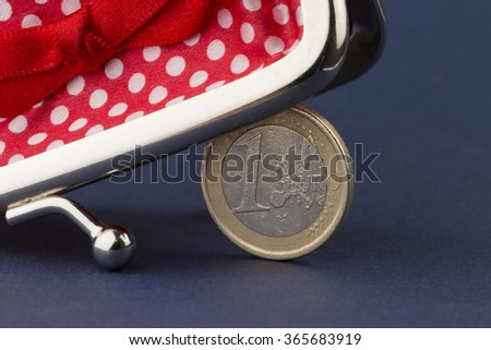 Wallet and one euro coin - stock photo