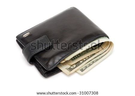 Wallet full of dollars isolated on white - stock photo
