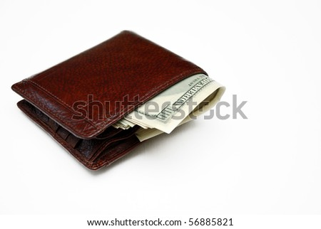 Wallet full of money. Isolated on white. - stock photo
