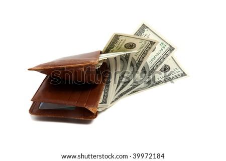 Wallet full of money, lying down on white - stock photo