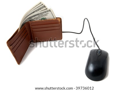 Wallet full of money, with mouse, to indicate electronic payment, e-wallet, 3-cash - stock photo