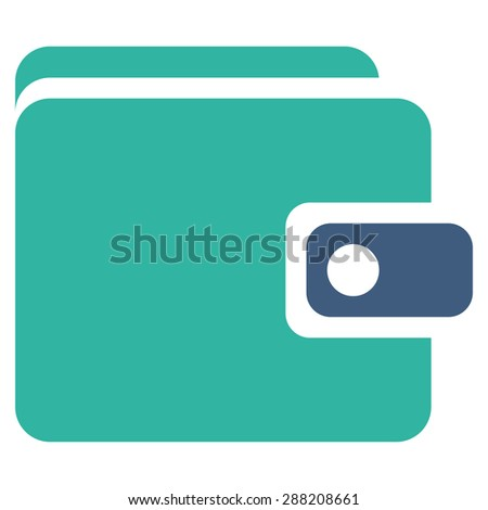 Wallet icon from Business Bicolor Set. This flat raster symbol uses cobalt and cyan colors, rounded angles, and isolated on a white background. - stock photo