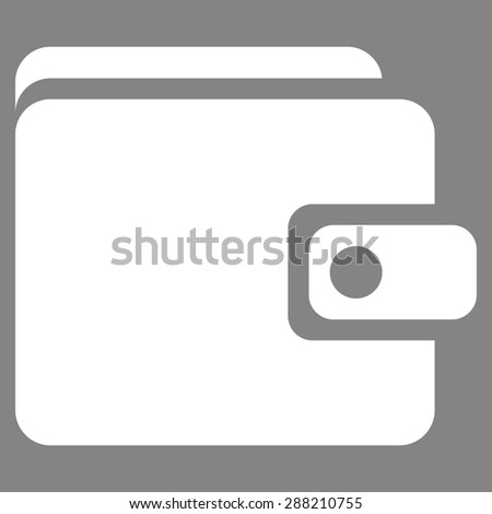 Wallet icon from Business Bicolor Set. This flat raster symbol uses white color, rounded angles, and isolated on a gray background. - stock photo