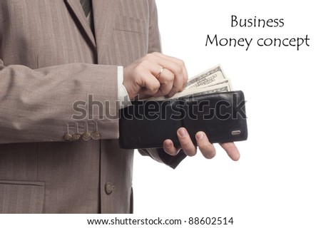 wallet in businessman's hands - stock photo