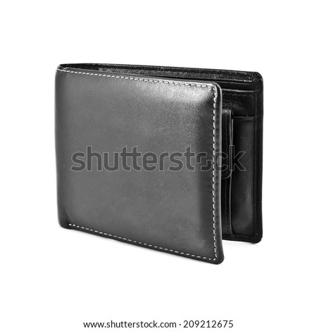 Wallet isolated on white background, Black and White image