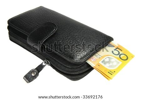 wallet isolated with notes. - stock photo
