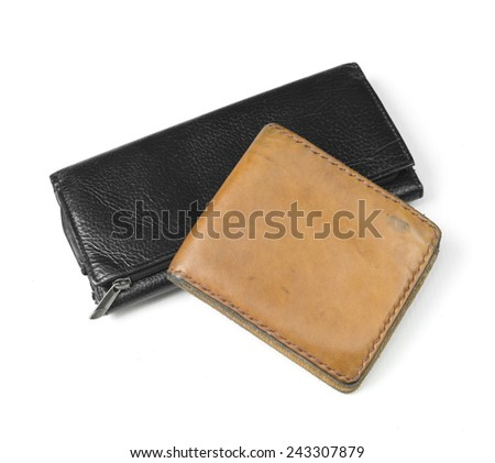 Wallet made ??of leather, isolated on white - stock photo