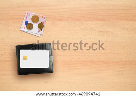 Wallet, money and credit card mock-up on desk