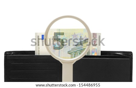 wallet, money under magnifying glass - stock photo