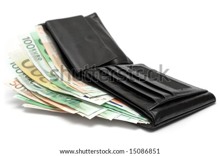 Wallet w/ Banknotes - stock photo