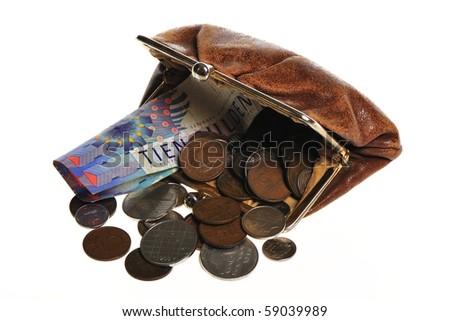 Wallet whit dutch money in it - stock photo