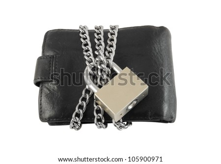 Wallet with chain and padlock isolated on white background