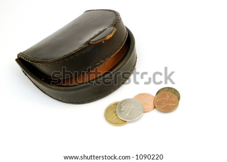 wallet with coins - stock photo
