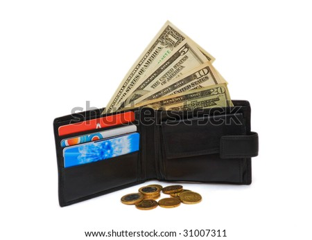 Wallet with dollar bank notes and coins isolated on white - stock photo