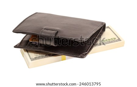Wallet with dollars and a bank card - stock photo