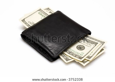 wallet with dollas isolated on white - stock photo