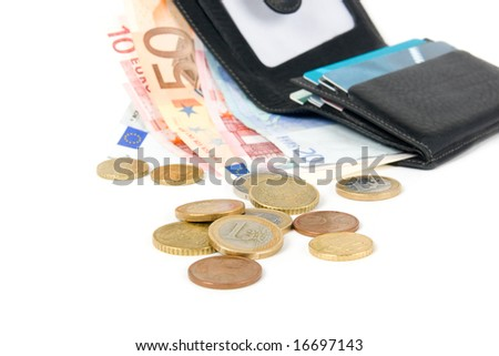wallet with euro and card