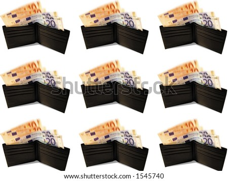 Wallet with Euro bank notes - stock photo