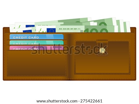 wallet with 100 euro banknote illustration. - stock photo