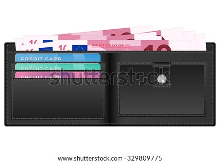 wallet with 10 euro banknote illustration.
