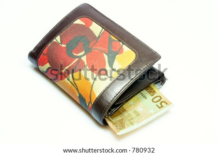 wallet with fifty euro - stock photo
