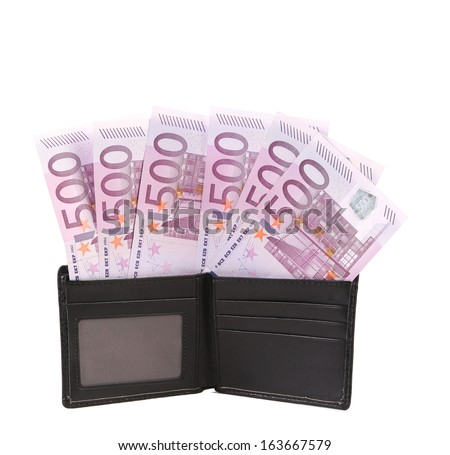 Wallet with five hundreds euro banknotes. Isolated on a white background.