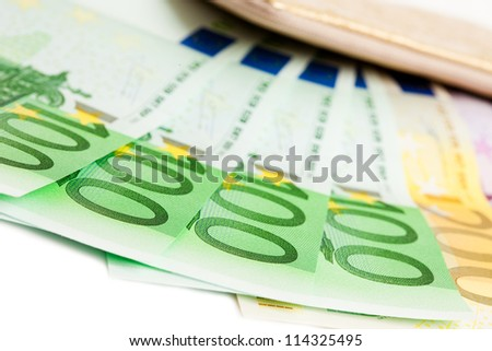 wallet with many euros isolated - stock photo