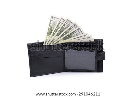wallet with money - stock photo