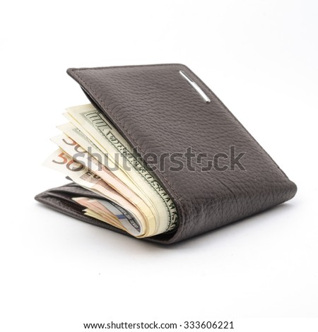 wallet with money isolated on white - stock photo
