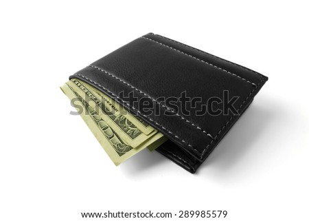 wallet with money isolated on white background, salary,price, earnings, savings