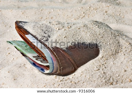 Wallet with money lost in the sand