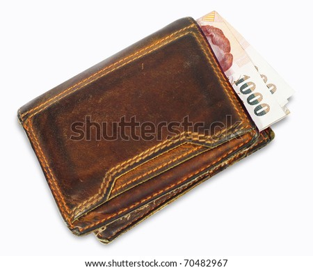 wallet with money on a white background - stock photo