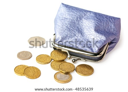 Wallet with pocket money (eurocents and british coins) isolated on white background - stock photo