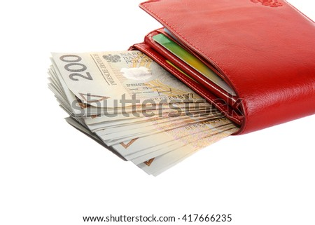Wallet with polish zloty isolated on white. - stock photo