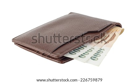 wallet with Thai money isolated on white background