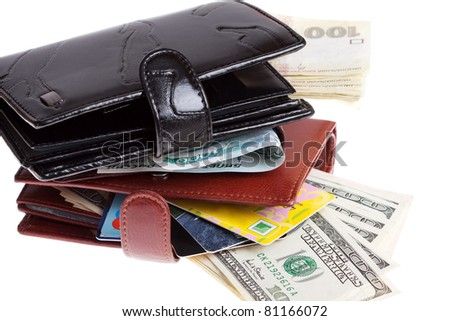 Wallets with Money - stock photo