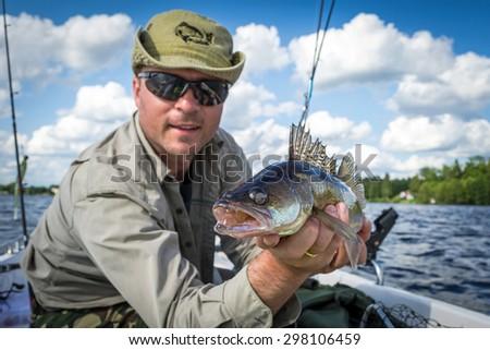 Walleye summer fishing - stock photo