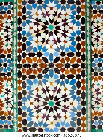 walll tiles at Ali Ben Youssef Madrassa in Marrakech, Morocco - stock photo